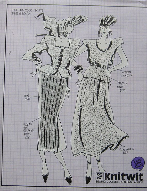 Vintage Knitwit Skirts Pattern by TheHowlingHag on Etsy, $7.95 ...