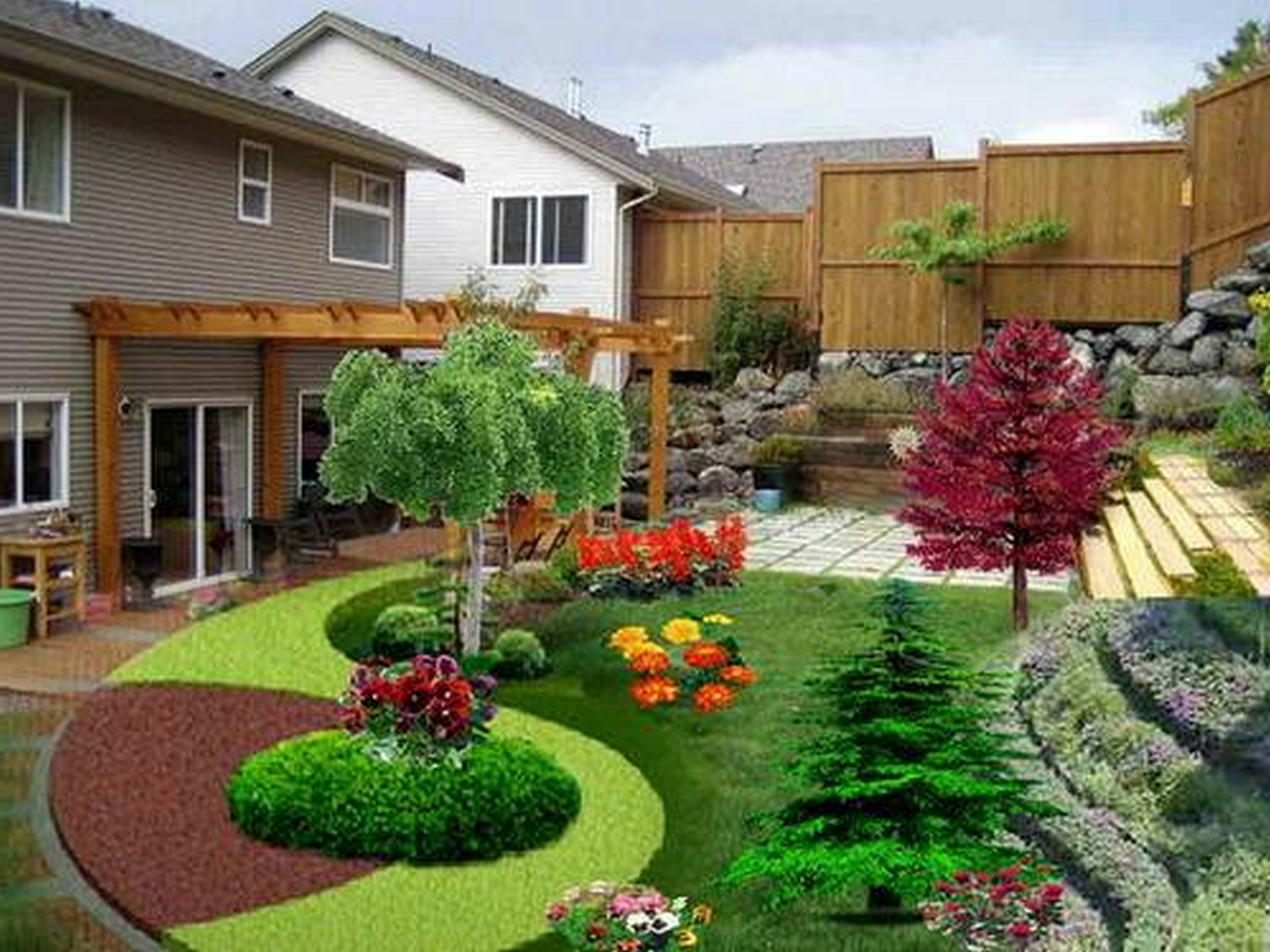 Landscaping Ideas Garage Area : Backyard landscaping small gardens easy ideas