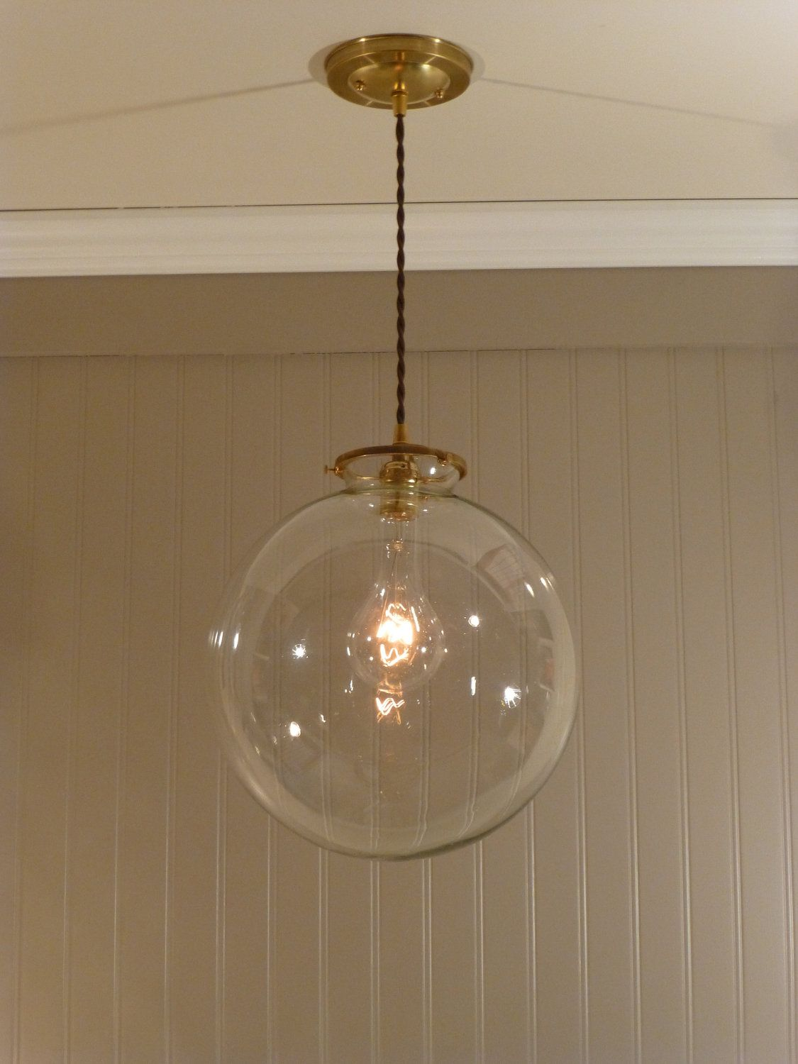 brass pendant light with a 12 inch clear glass globe for the home brass pendant light globe. Black Bedroom Furniture Sets. Home Design Ideas