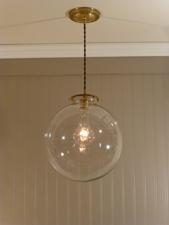 Brass Pendant Light with a 12 inch Clear Glass Globe. $128.00 via Etsy. & Brass Pendant Light with a 12 inch Clear Glass Globe. $128.00 via ... azcodes.com