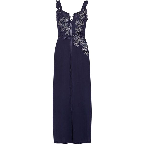 La Perla Peony embroidered satin-trimmed stretch-silk and tulle... (5.145 BRL) ❤ liked on Polyvore featuring intimates, midnight blue, tulle slip and la perla
