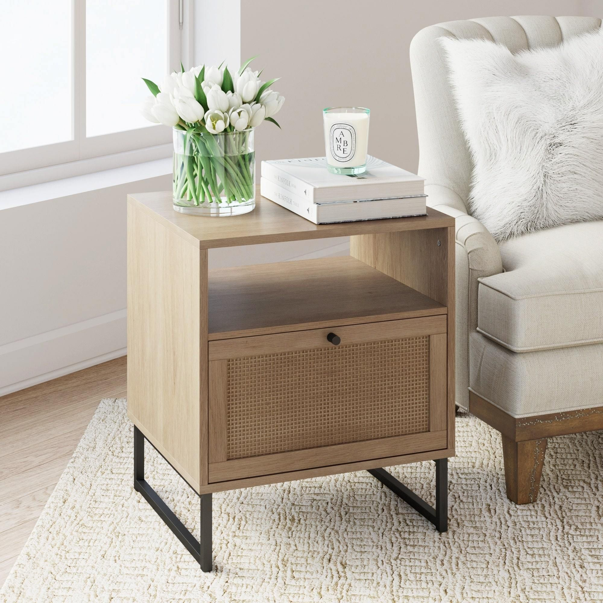 Nathan James Mina Natural Oak Wood Black Accent With Storage Living Room End Table Or Bedroom Nightstand Walmart Com Bedroom Night Stands Living Room End Tables Oak Furniture Living Room