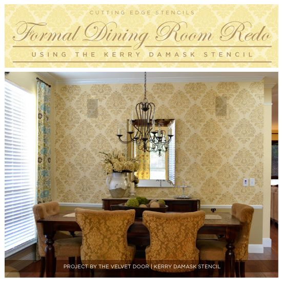 A gorgeous Kerry Damask stenciled dining room makeover! http://www.cuttingedgestencils.com/wall-damask-kerry.html