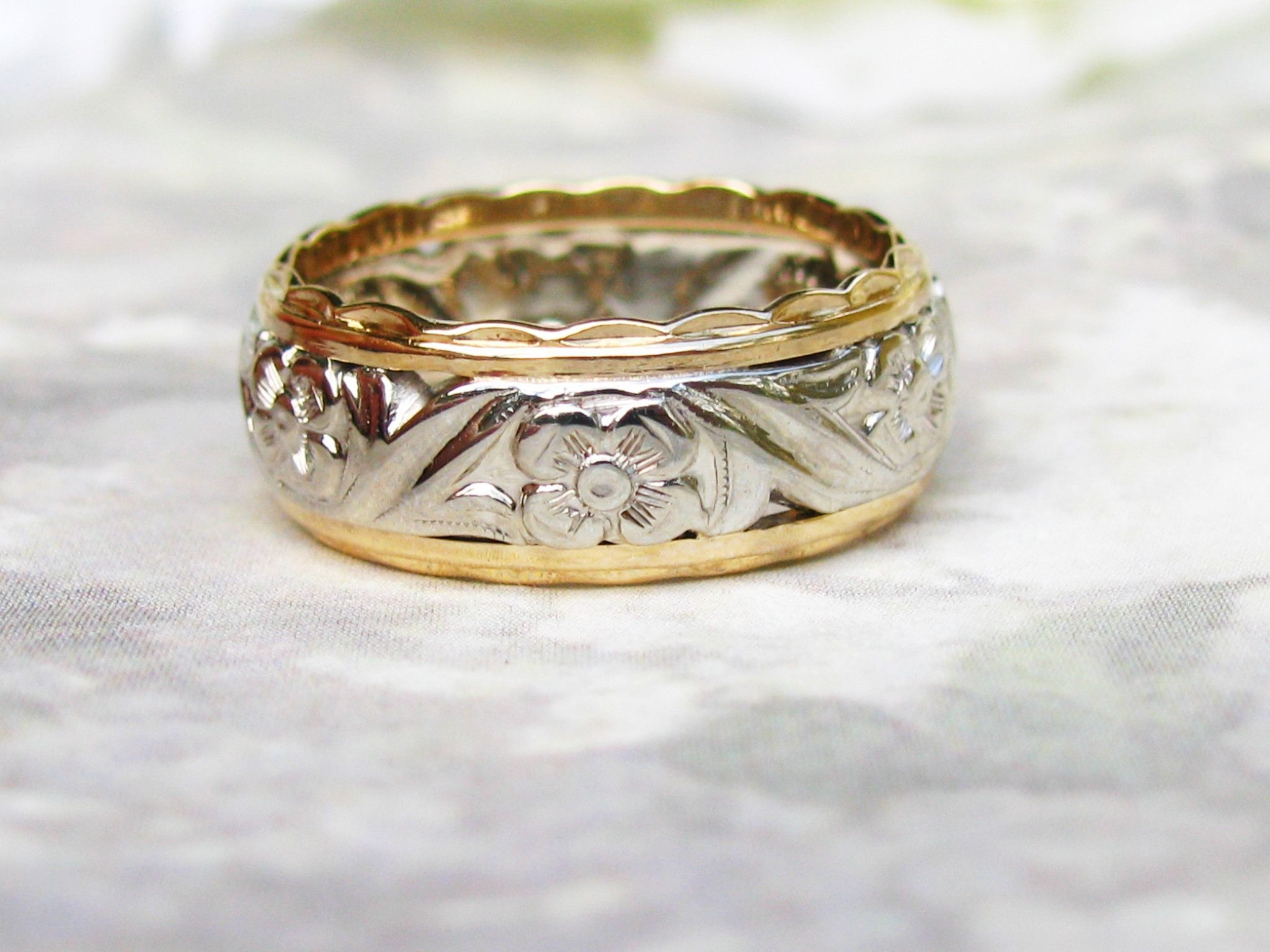Vintage Orange Blossom Wide Wedding Band 14k Two Tone Gold Floral Design Ladies Wedding Ring Gold Stacking Wedding Rings For Women Jewelry Lover Vintage Jewels