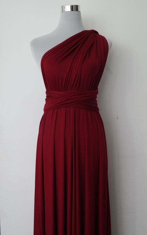 181d74862d1 LilZoo Full Ballroom Length Convertible Infinity MultiWay Wrap Dress in  Wine red Maroon and Free Bandeau