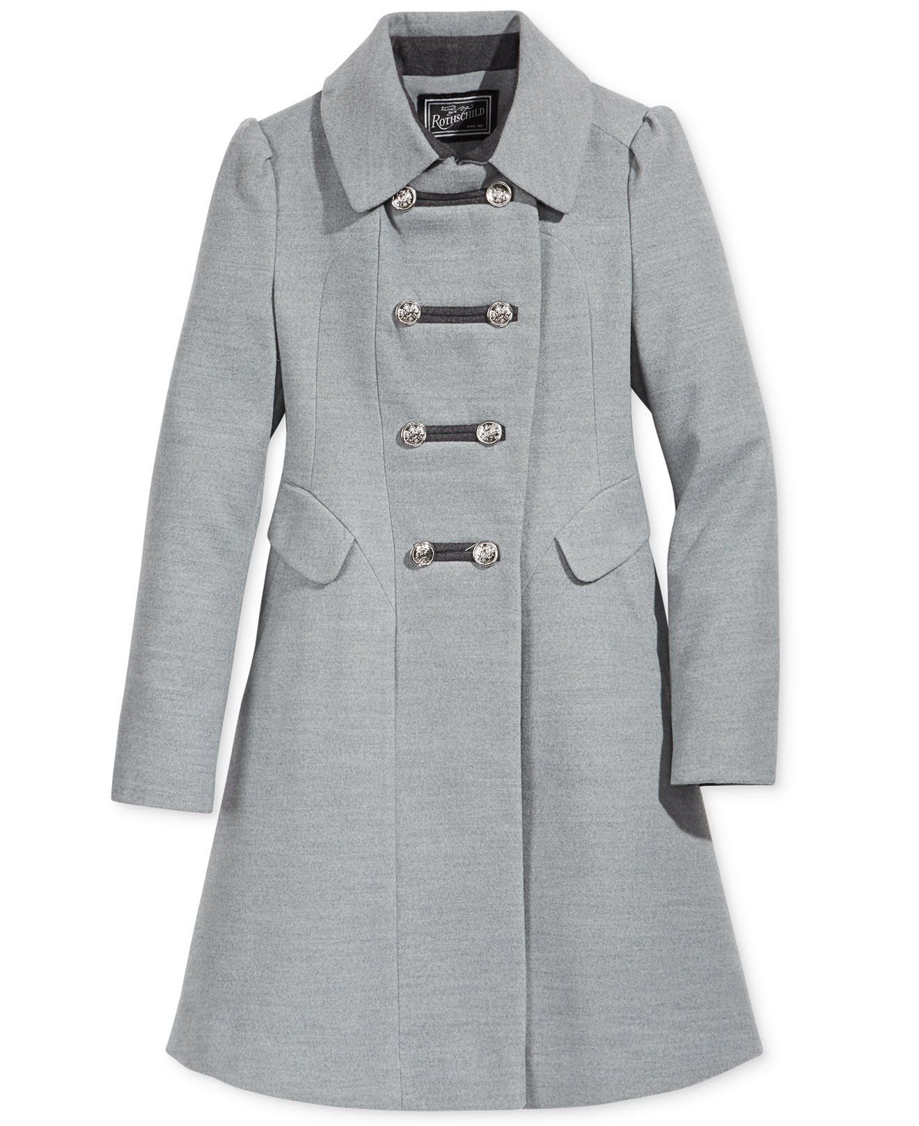 Rothschild Girls' Grey Military Faux Wool Coat - Young Timers ...