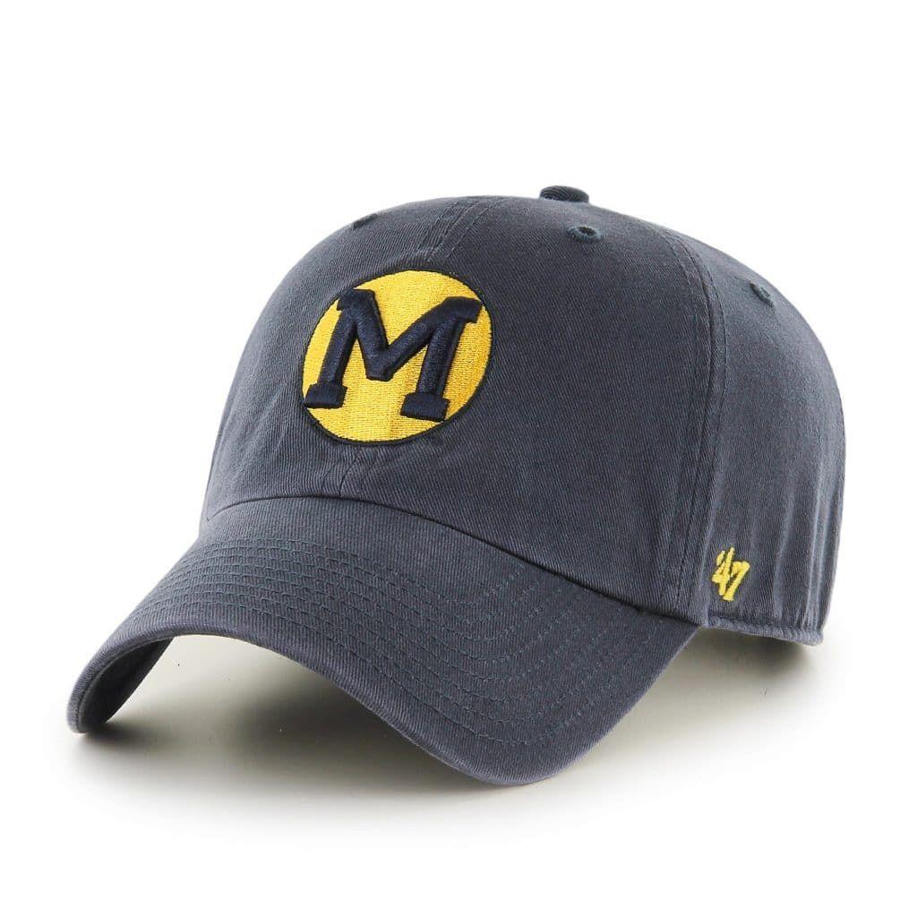 be163c81f6f Michigan Wolverines 47 Brand Vintage Navy Vin Clean Up Adjustable ...