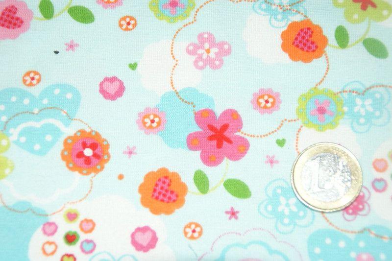 Stoff Blumen Stoff Hellblau Hellblau Rosa Pink Geblumt Jersey Ein Designerstuck Von Kinderzimmerwelt Bei Dawanda Stoffe Zum Nahen Pink Stoff