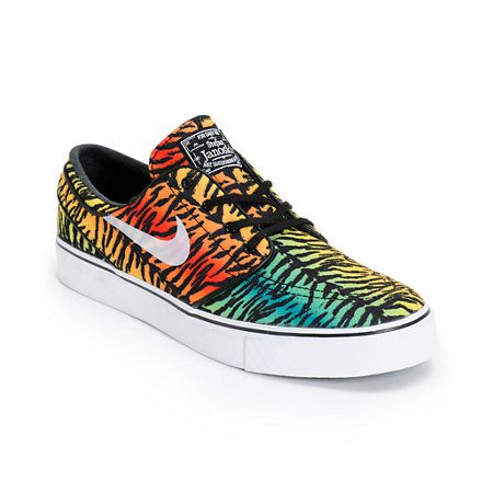 Men's New Nike Zoom Stefan Janoski CNVS Tiger Multi-Colored Print Shoes