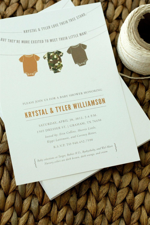 realtree wedding invitations%0A Camo Onesie Baby Shower Invitation  Hunting Baby Shower Invitation  Set of      via