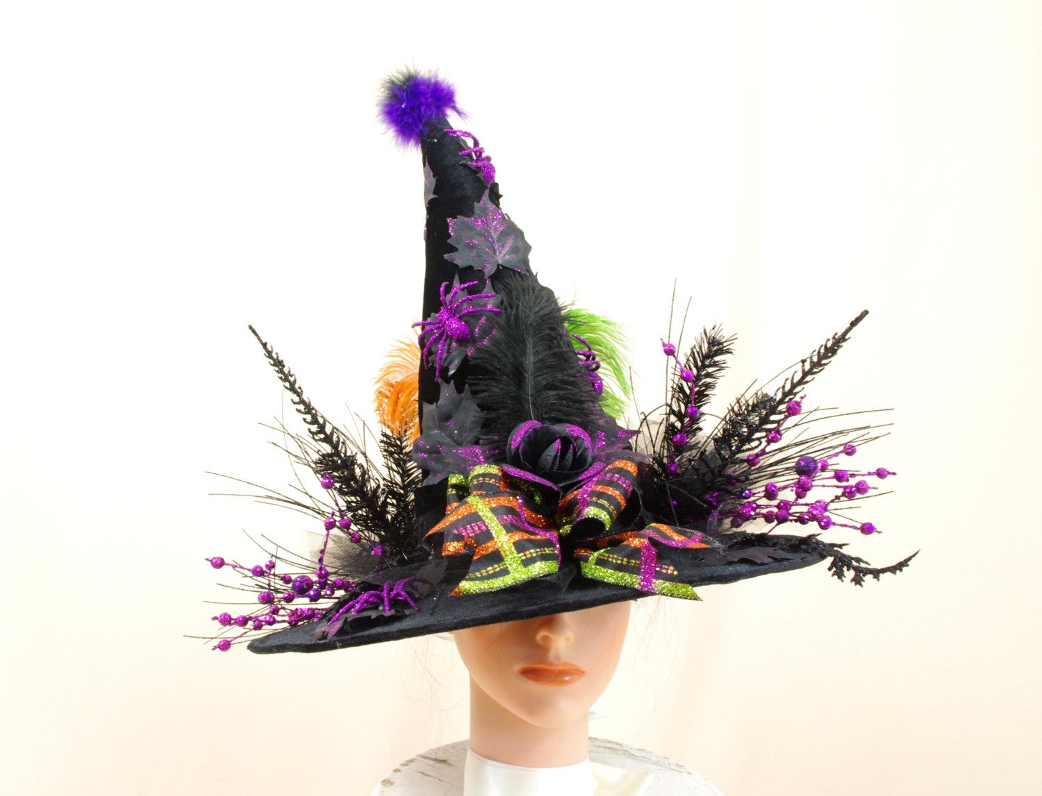 Whimsical Witch Hat, Black Witch Hat, Halloween Decor, Witch Costume - Whimsical Halloween Decorations