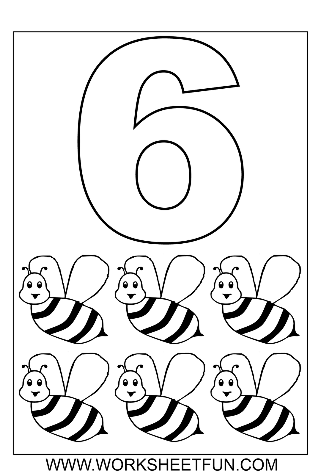 numbers colouring sheets 06 | D\'S Prek | Pinterest | Bienen