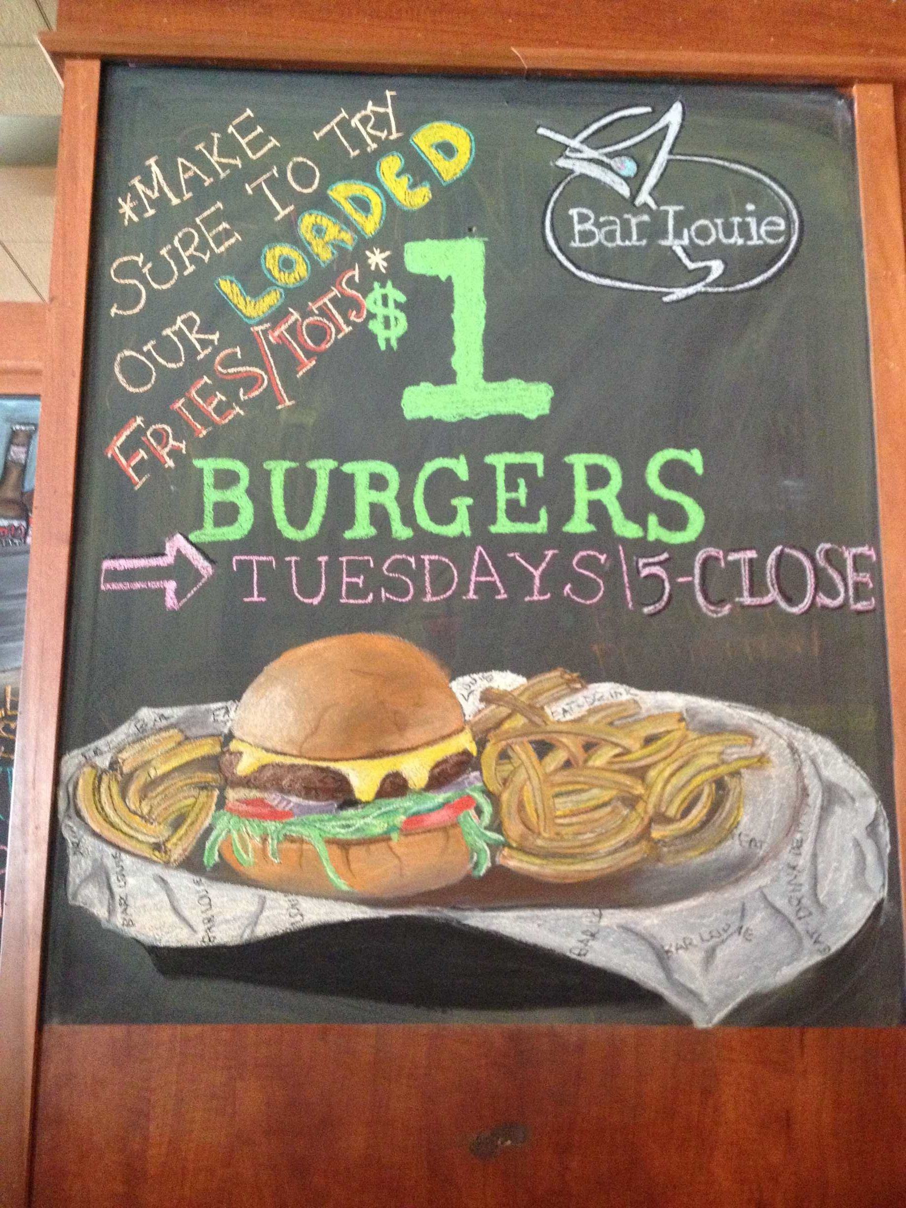 Dollar burger chalkboard for Bar Louie Buffalo | Chalkboards ...