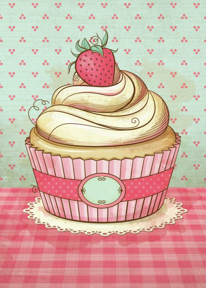 Cupcake Iphone Wallpaper Pako Garcia Vintage Strawberry Cupcake Logotipo Para