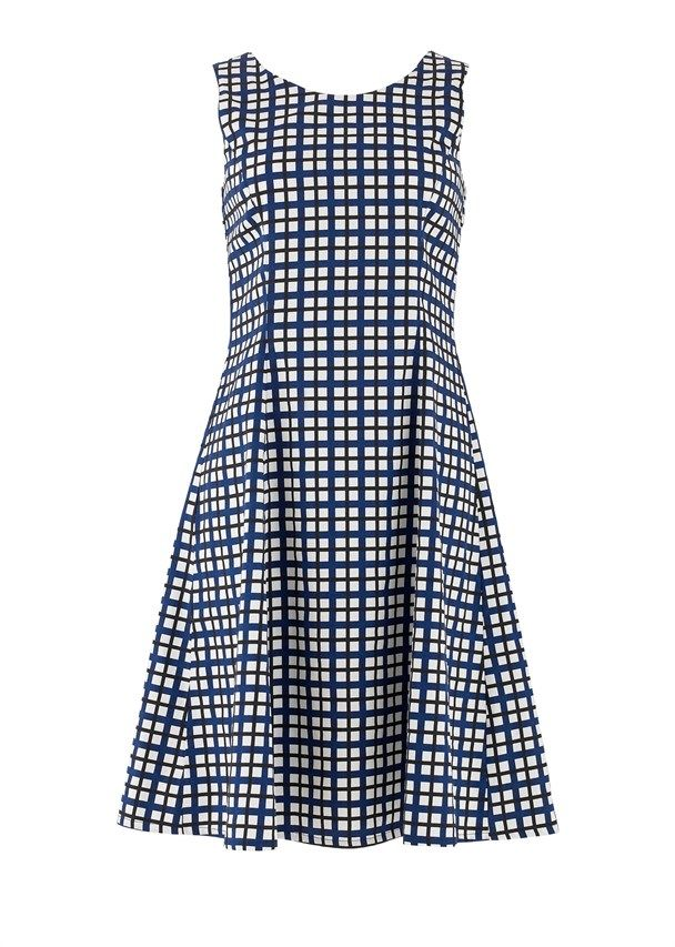 Christy Checked Flared Dress in Navy