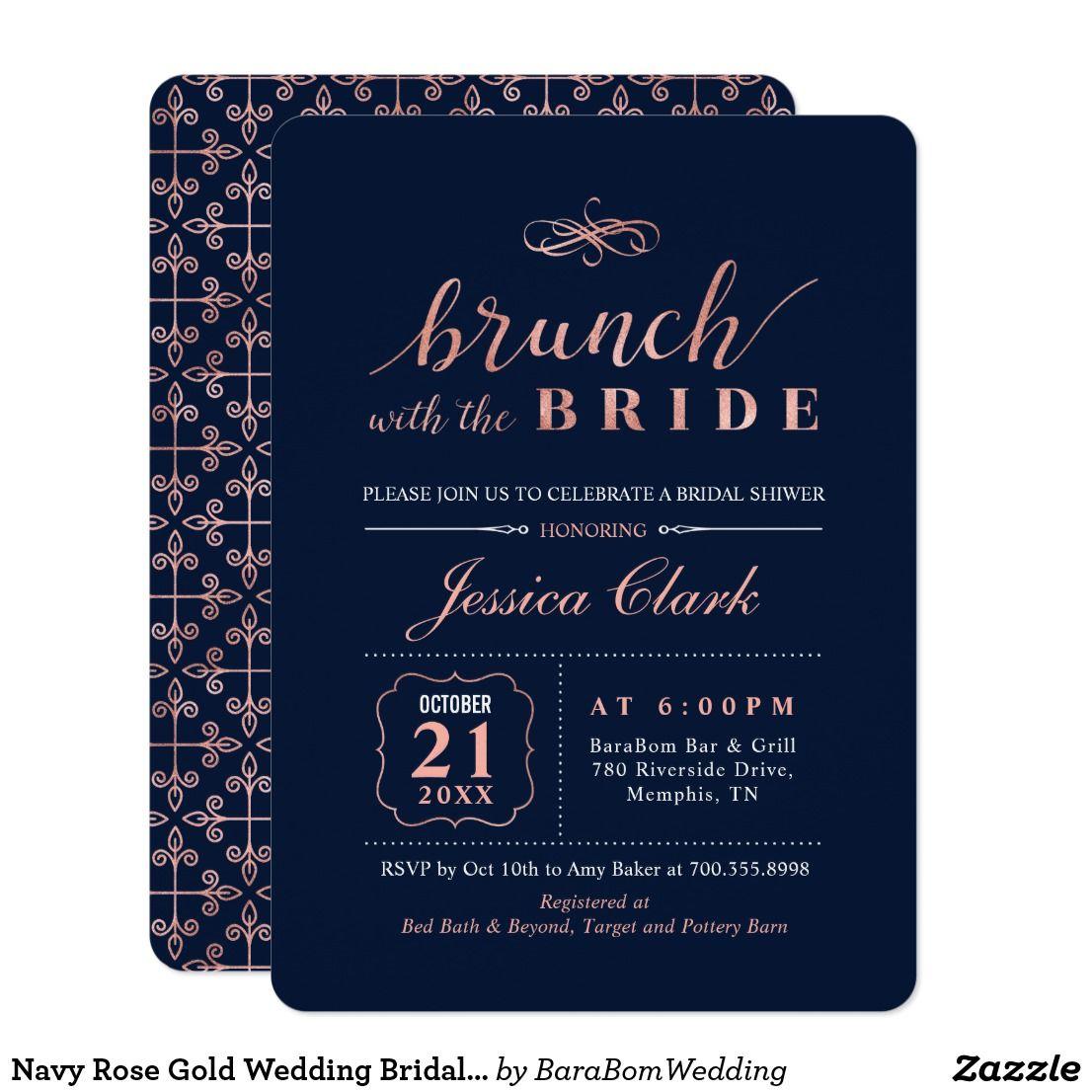 Rose Gold Navy Elegant Wedding Bridal Brunch Card Brunch