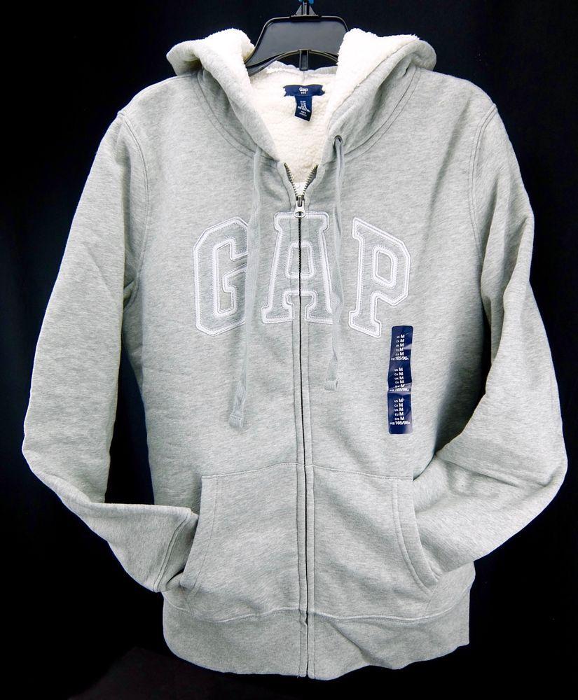 c5b184e118c5 Gap Logo Hoodie Sweatshirt Fleece Lined Gray Womens Size M  GAP  Hoodie