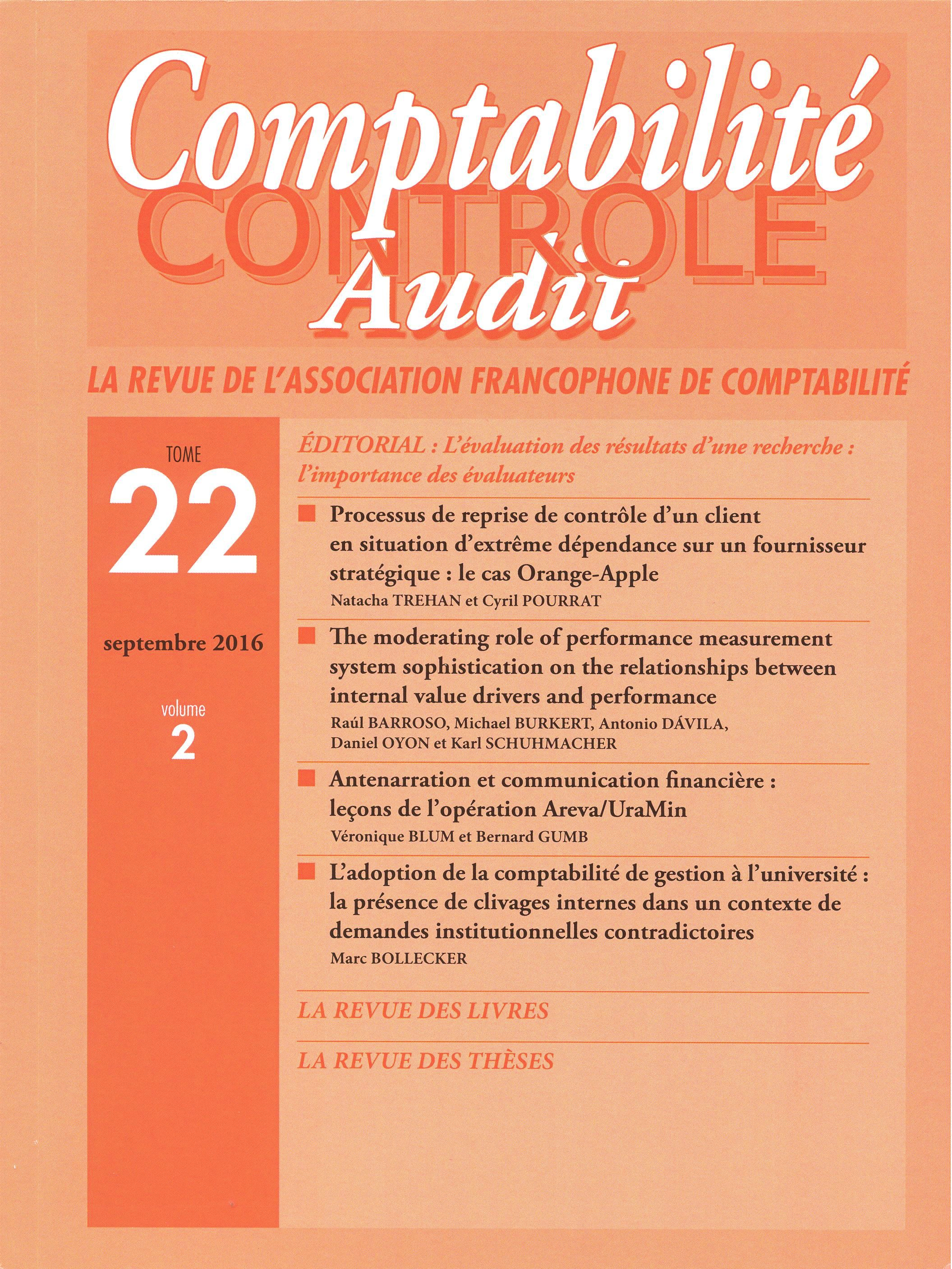 COMPTABILITE - CONTROLE - AUDIT