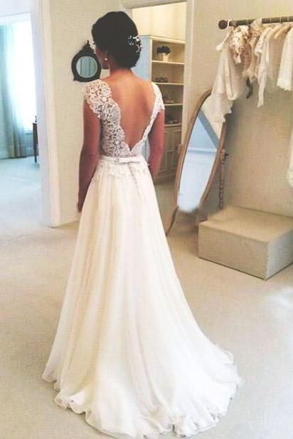 A-line Round Neckline Chiffon Lace Long Open Back Sleeves Wedding Dresses uk PW217 A-line Rou...