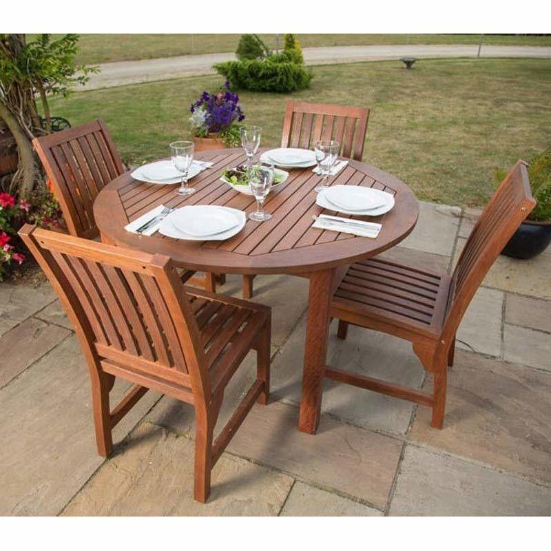 Leisurebench Devon Hardwood 4 Seat Round Table Dining Set