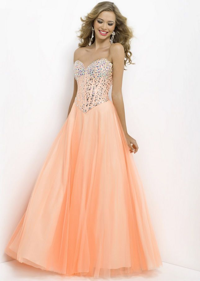 Peach Long Jewels Beaded Corset Style Top Tulle Ball Gown | dresses ...