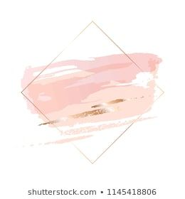 Rose gold brush strokes of different shapes in a contour golden square frame. #stockportfolio