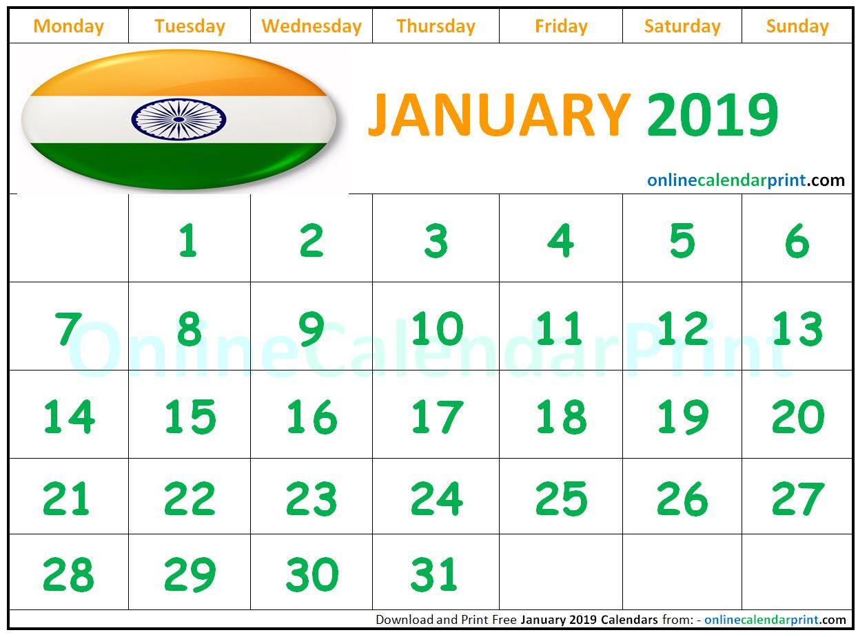 January 2019 Calendar India   Monthly Calendar Templates