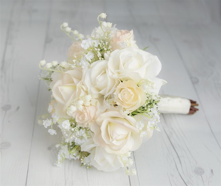 Real Touch Champagne Off White Roses And Fillers Silk Wedding Bouquet Elegant Wedding Bouquets Flower Bouquet Wedding Spring Wedding Bouquets