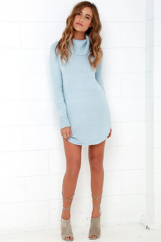 c09212076f Good and Plenty Light Blue Sweater Dress at Lulus.com!
