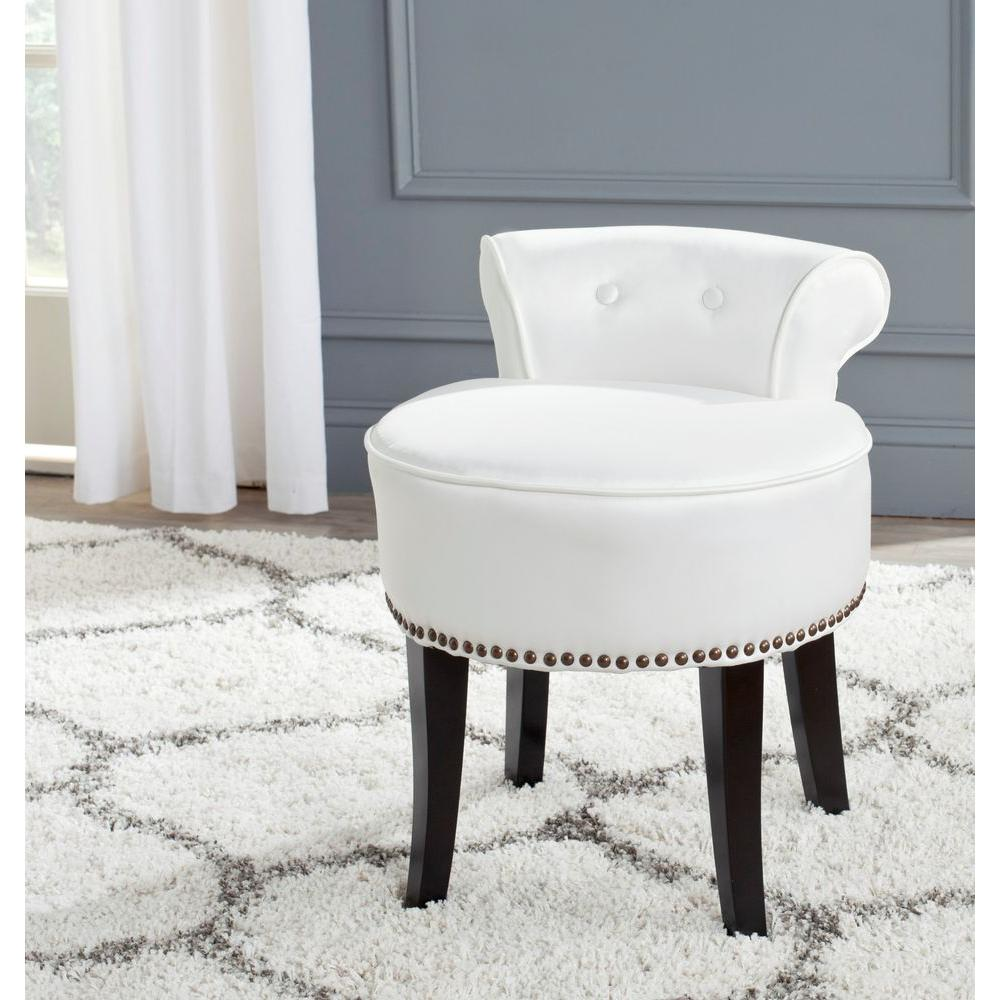 Safavieh Georgia White Poly Cotton Vanity Stool Mcr4546t Vanity