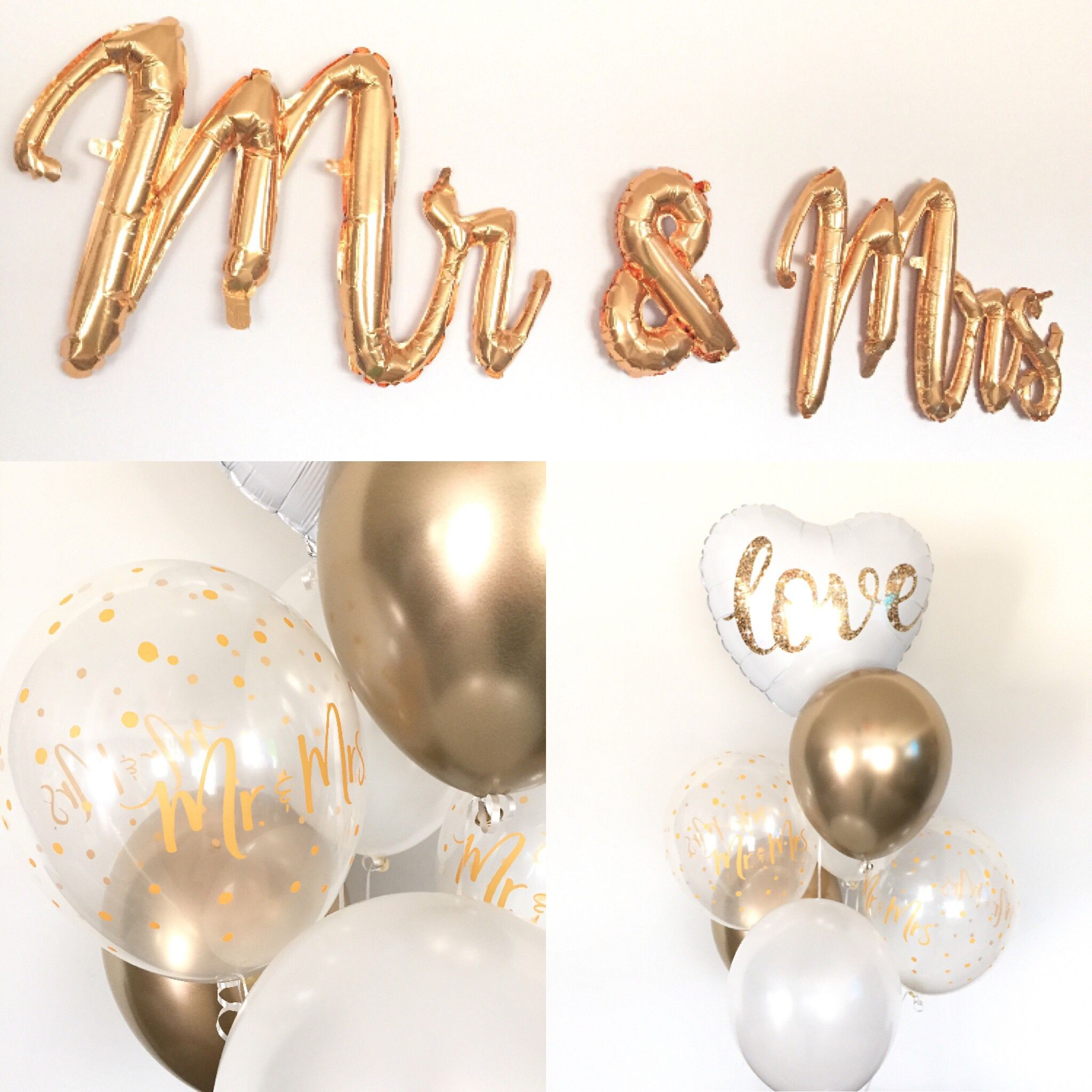 White And Gold Balloons Engagement Party Decor Mr Mrs Gold