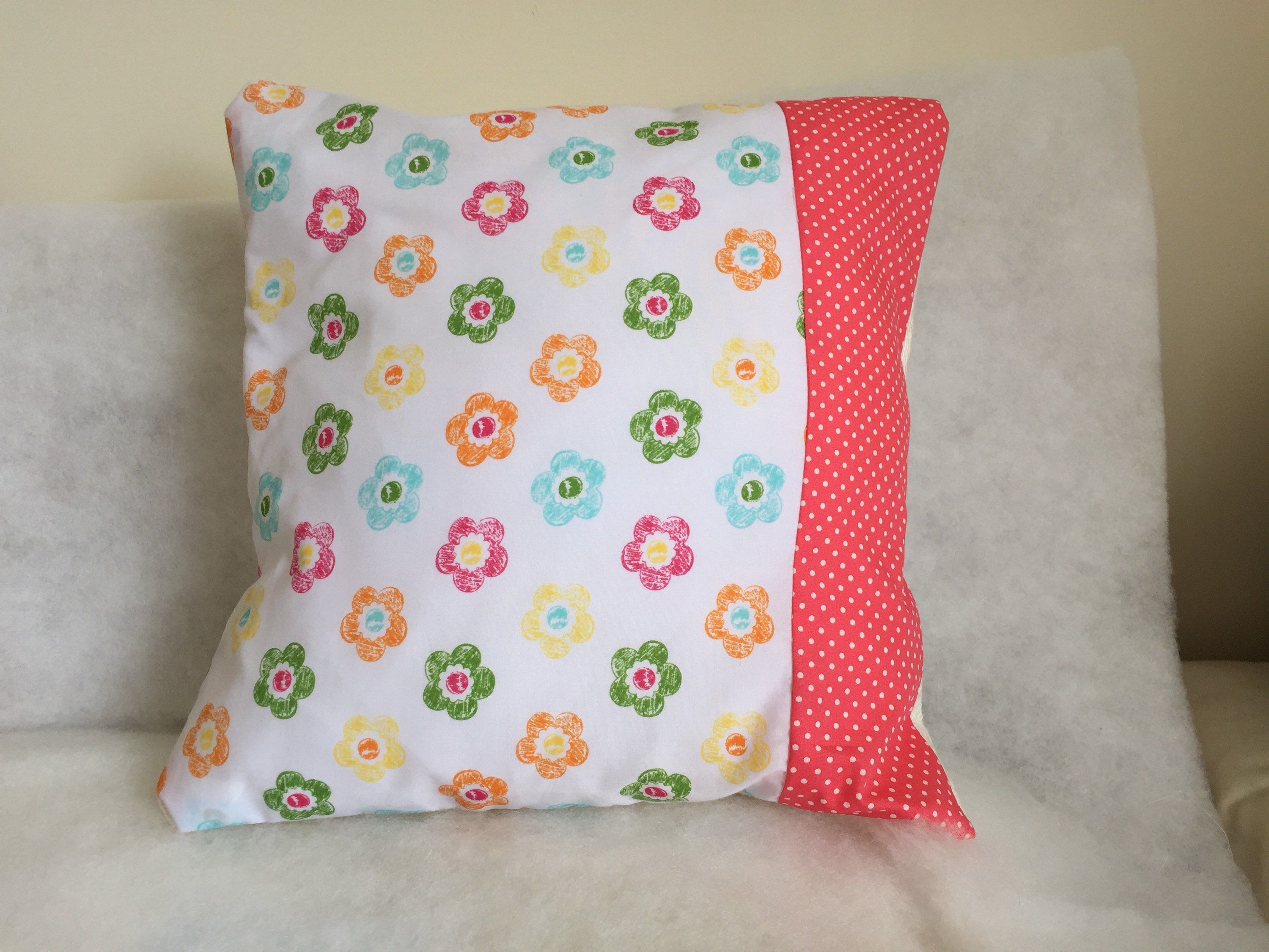 White floral accent cushion cover two tone pillow cover white
