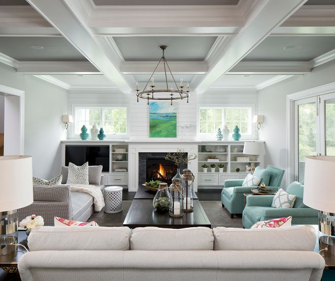 9 Stylish Tray Ceiling Ideas For Different Rooms: Living Room With Shiplap Fireplace, Half Wall Cabinets