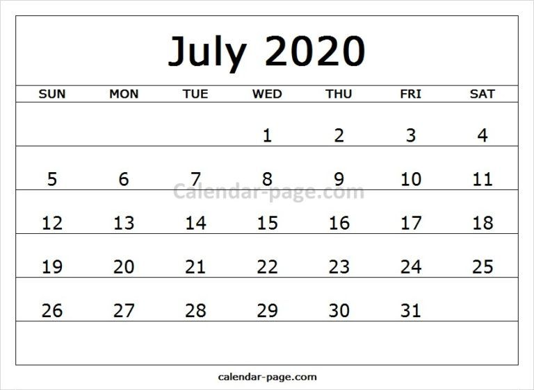 Printable Calendar July 2020.Print Free Monthly Calendar 2020 July Calendar Design April