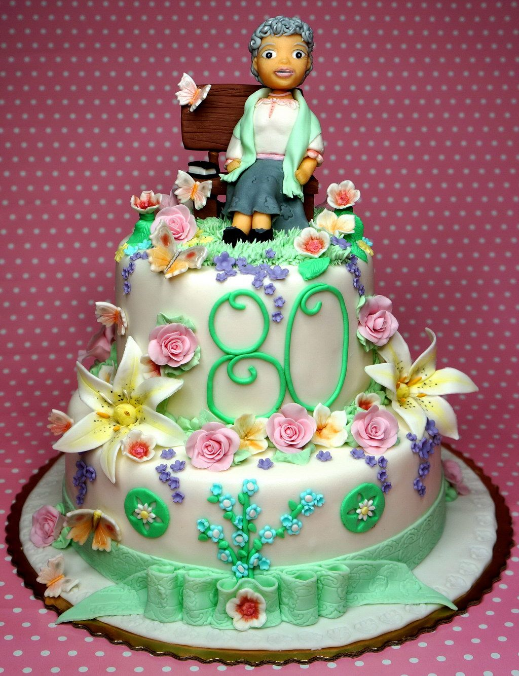 80th Birthday Cake for Grandmother http://www.pinkcakeland ...