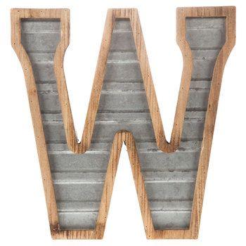 Wood & Galvanized Metal Letter - W