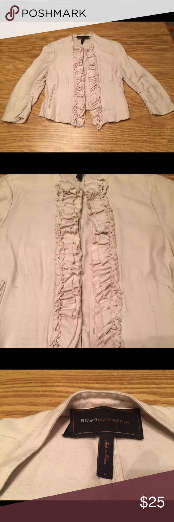 BCBG cropped ruffle blazer BCBG Cream colored cropped ruffle blazer. Hook enclosures. Super soft and comfy. Small spot on left arm as shown in photo. Hard to notice and will probably wash out. BCBGeneration Jackets & Coats Blazers
