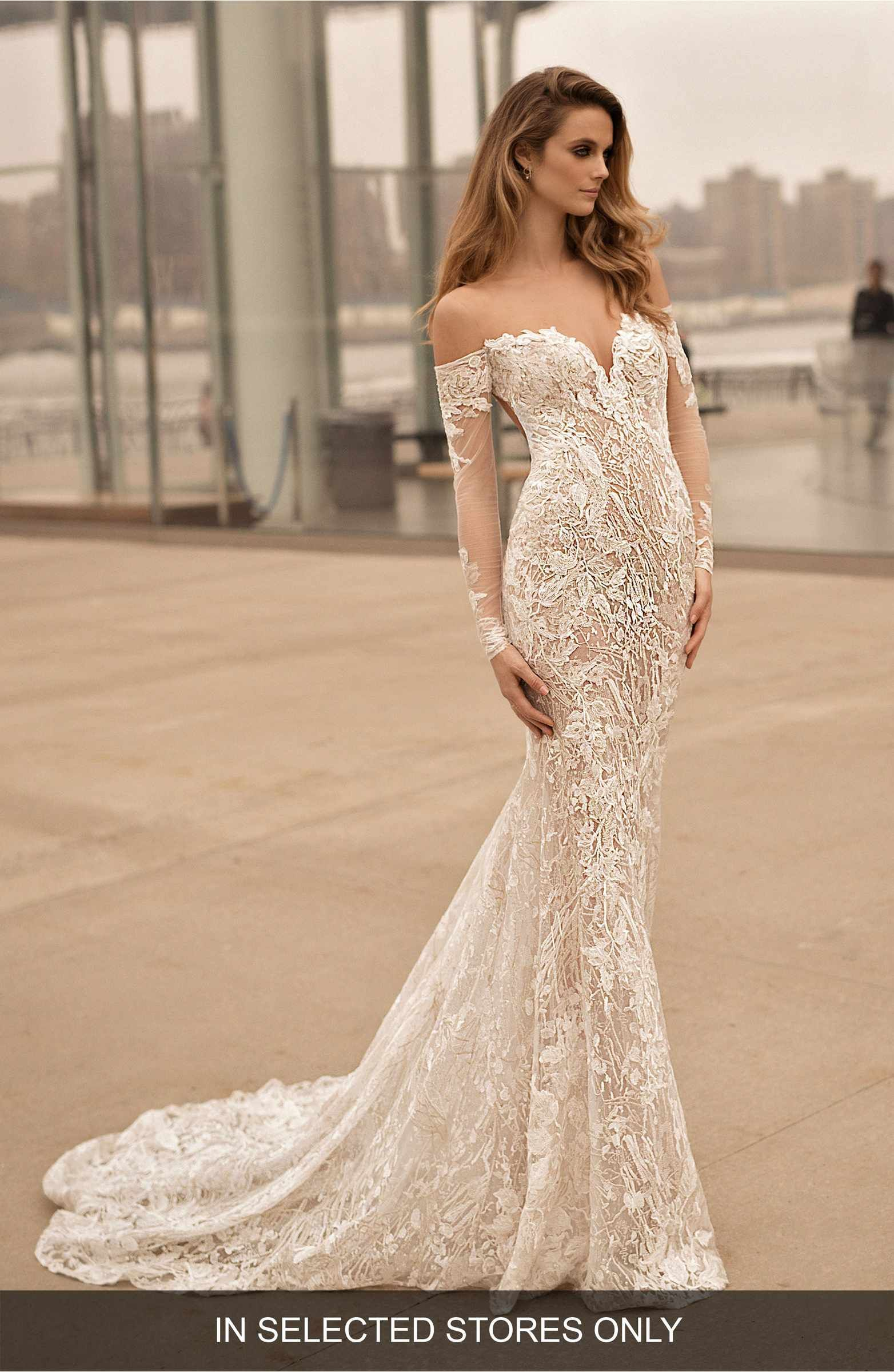 Off the shoulder lace mermaid wedding dress  Main Image  Berta Long Sleeve Illusion Off the Shoulder Mermaid