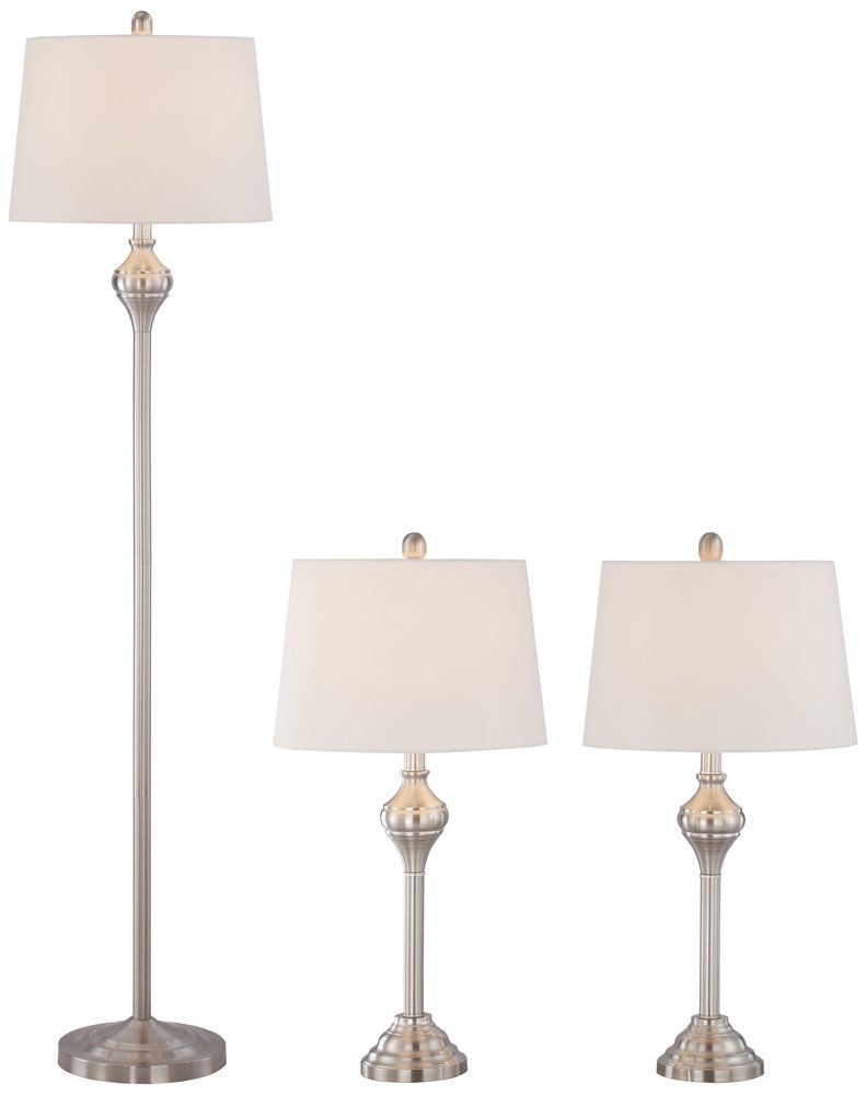 Set Of Two Table Lamps Mason Brushed Steel 3 Piece Floor And Table Lamp Set Floor And