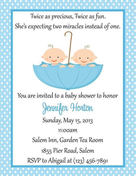 Twin Baby Shower Invitation Digital File