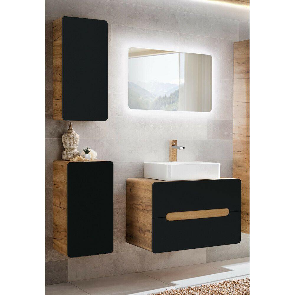 Badmobel Set Keramik Waschbecken Eiche Led Badspiegel Unterschrank Badezimmer In 2020 Keramik Waschbecken Badezimmer Set Unterschrank