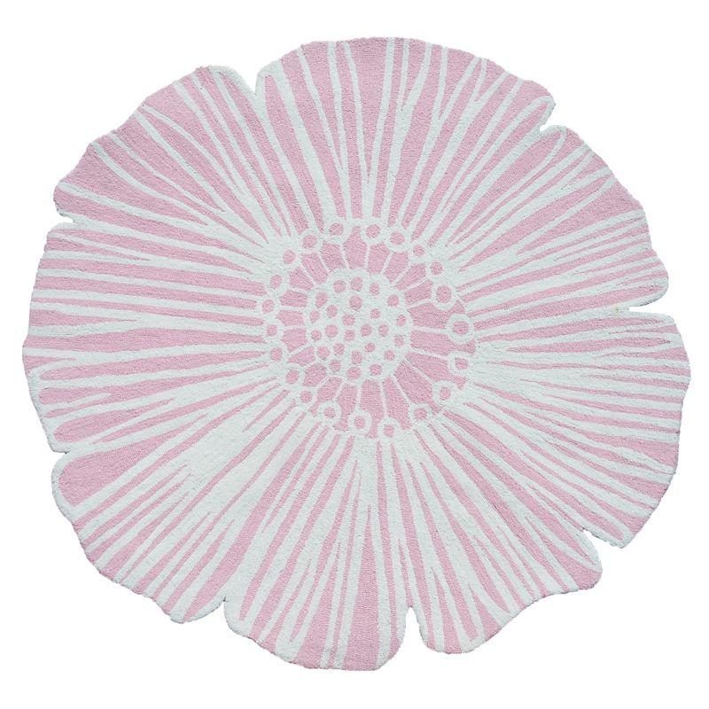 Pink Round Flower Rug
