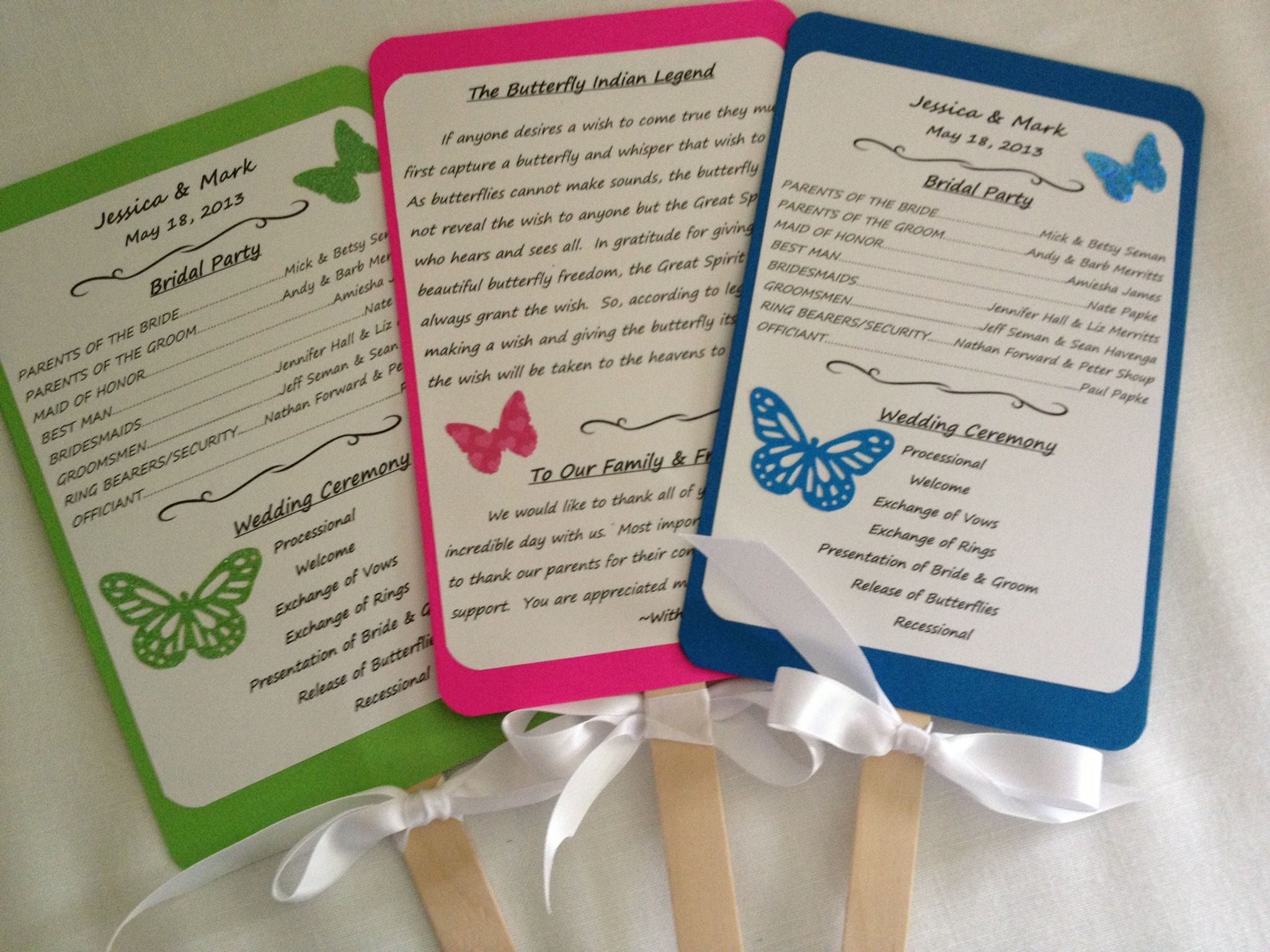 Butterfly theme wedding programs for outdoor butterfly