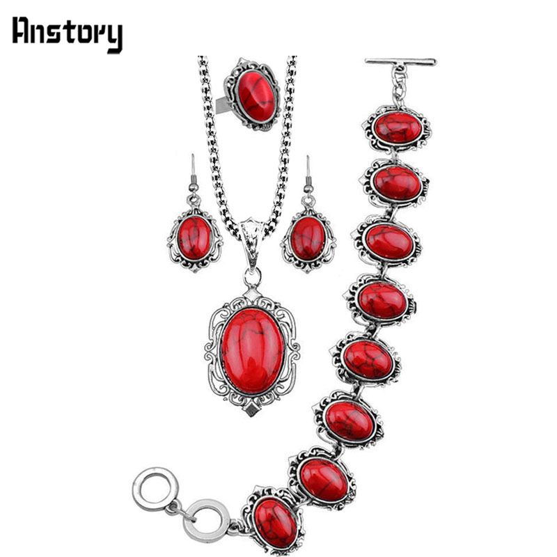 4 stücke Retro Look Antikes Silber Überzogener Oval Blume Halskette Armband Ohrring Türkis Schmuck Sets TS60