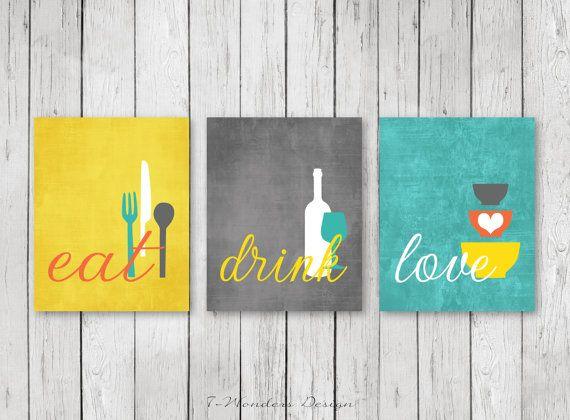Kitchen Wall Art Print Set Eat Drink Love C Turquoise Mustard White Modern Decor Of 3 Many Sizes Unframed