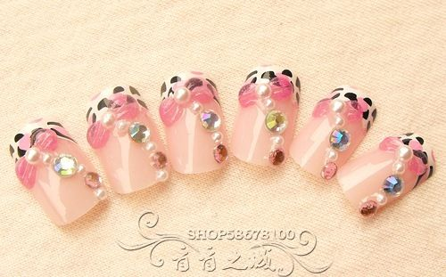 Aliexpress.com : Buy 3d carved french nail art patch false nail bride nail art double faced adhesive milk leopard print from Reliable gel nail suppliers on Jessie's shop. $3.98
