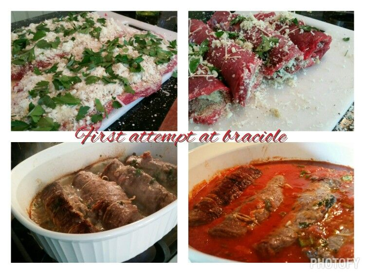 Family dinner night.  My first attempt at making an Italian staple,  braciole!