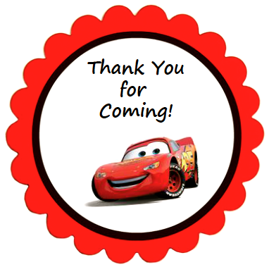 Disney Cars Party Favor Labels These round thankyou labels are
