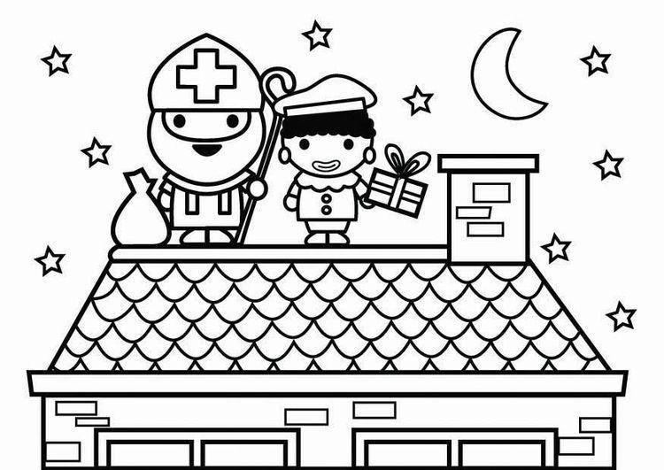 Kleurplaat Sint en Piet op dak #sintenpiet Kleurplaat Sint en Piet op dak #sintenpiet