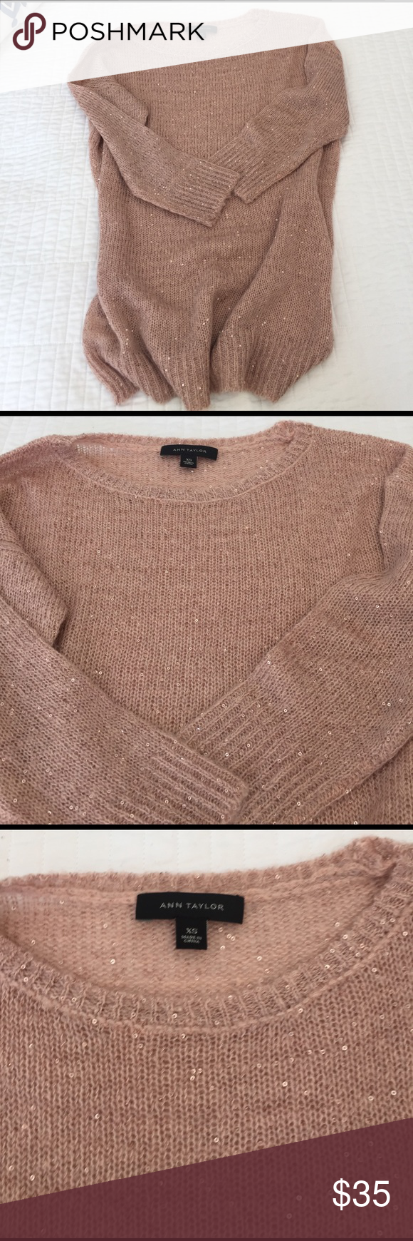 Blush sequined 3/4 sleeve sweater You will love this feminine blush sequined sweater. It has 3/4 length sleeves and is slightly sheer. Pair with white jeans for spring!! Ann Taylor Sweaters Crew & Scoop Necks